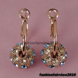 New 18K Gold GP Colorful Swarovski Crystals Ball Hoop Earrings ER364A