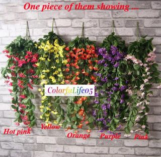 1x Violet Orchid Ivy Artificial Flower Hanging Plant Silk Garland Vine