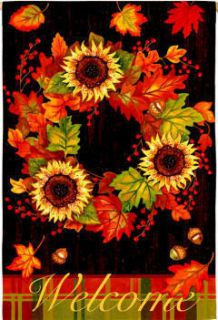 Fall Autumn Welcome Wreath Flowers Large House Flag 28x40 Banner 113