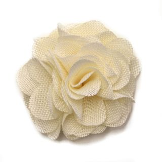 Milk White Linen Rose Corsage Fabric Flower Clip & Pin Brooch F10017