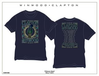 Eric Clapton Steve Winwood 2009 Blue T Shirt Large