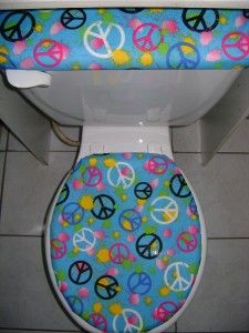 peace sign splat blue fabric toilet seat cover set