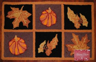 Hand Hooked Rug Autumn Pumpkin Fall Leaves Thanksgiving Harvest Oak