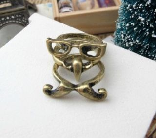 Fashion Punk Nose Mustache Glasses Ring Set Finger Ring