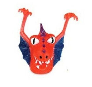 Red Little Monster with Purple Spikes and Blue Wings Finger Puppet New