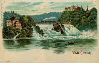 Hold to Light HTL Vintage Postcard Rhine Falls Train on Bridge