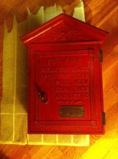 Vtg New York Gamewell Red Fire Alarm Box RARE