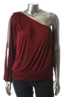 Famous Catalog Moda New Red Tempered Knit One Shoulder Long Sleeve