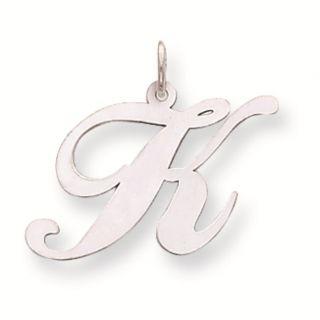 14k White Gold Large Fancy Script Initial Letter K Charm