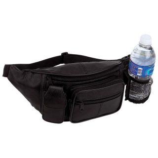 Black Solid Leather Waist Fanny Pack Travel Belt Bag Mesh Pocket
