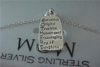 New 18 Sterling Silver Inspirational Mother Pendant Necklace