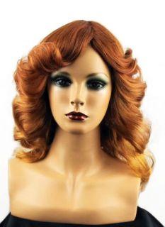 Long Farrah Fawcett Style Wig Fire Red Gold Blonde 70s Swept Back