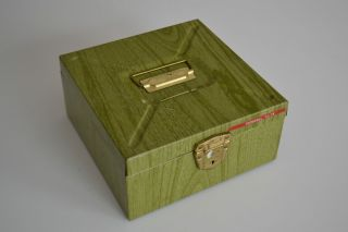Porta File Vintage Green Wood Grain Storage Metal Box Case