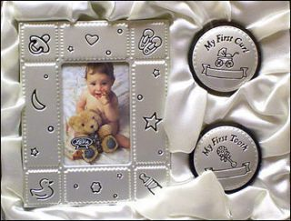 Baby Gift Set MY FIRST TOOTH CURL & PHOTO FRAME Birth Christening
