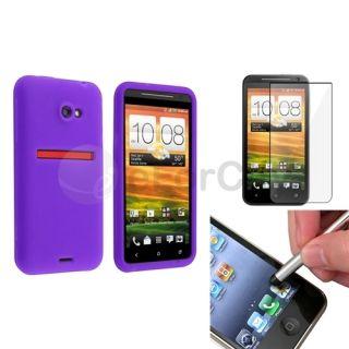 Purple Skin Case Clear Film Silver Stylus For HTC EVO 4G LTE EVO One