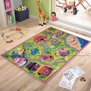 GIRLS SHOPS TRACK ROADS KIDS PLAY MAT RUG 100x150 NON SLIP WASHABLE