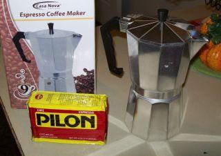 ALUMINUM ESPRESSO MAKER STOVETOP COFFEE LATTE CAPPUCCINO 9 CUPS SIZE