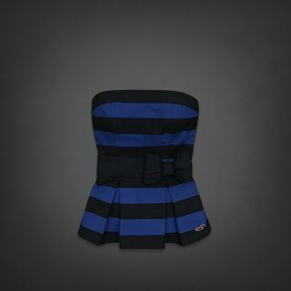 by Abercrombie Fitch Woman Blue Stripe Fallbrook Strapless Top