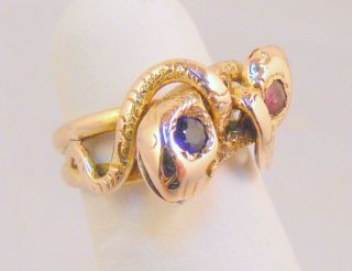 Estate Antique Sapphire Ruby 14k Gold Snake Ring