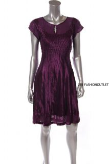New SL Fashions Womens Ladies Pleated Satin Round Neck Dress Purple