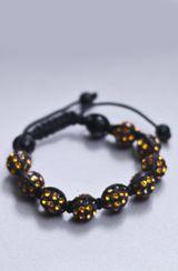 Native Vibe Jewelry Black and Gold Crystal Shamballa Bracelet