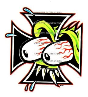 Rat Fink Iron Cross Vinyl Decal Sticker