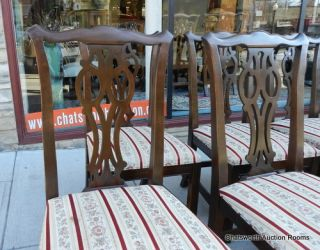 Set 8 Cherry Ethan Allen Georgian Court Chippendale Dining Room Chairs