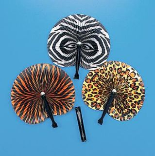 12 Safari Jungle Fans Dozen Birthday Party Favors
