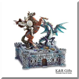 Chess Set Medieval Fantasy Dragon and Knight Battle on 3D Castle Board