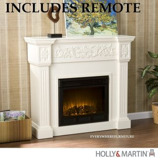 Huntington Ivory White Electric Fireplace Mantel Remote Holly Martin
