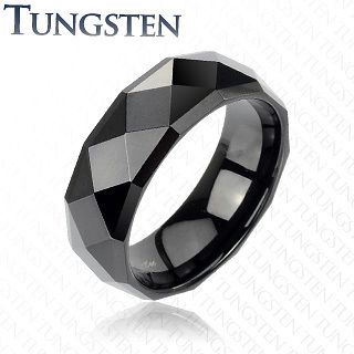 Black Mirrored Face Comfort Fit Wedding Band Ring Sz 5 14
