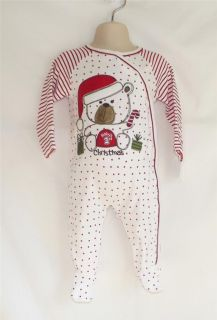 First Moments Teddy Bear Babys 1st Christmas Sleeper w Mitts Size 3