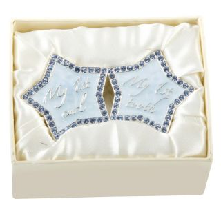 Silver Plated 1st First Tooth Curl Blue Star Boxes with Crystals Baby