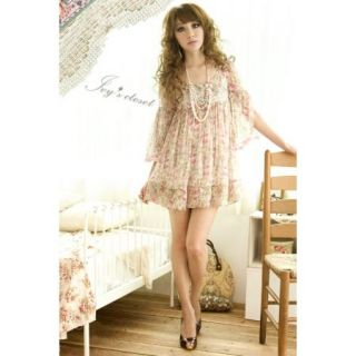 Japanese Fashion Girl Dolman Sleeve Floral Chiffon Above Knee Mini