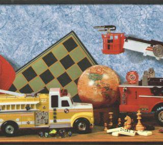 Fire Trucks Rescue Books Games Blue Back Ground Wallpaper Border Wall