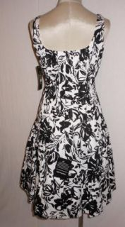 Ralph Lauren Black White Floral Fit Flare Career Cocktail Dress 10P $