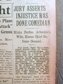 Best 1922 Headline Newspaper Fatty Arbuckle Acquitted of Virginia