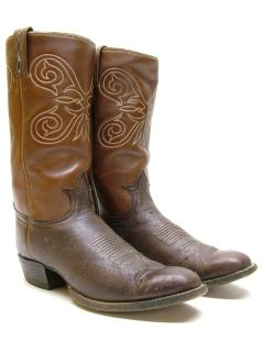 Womens Tony Lama Brown Deer Skin Leather Cowboy Western Boots Size 9 5