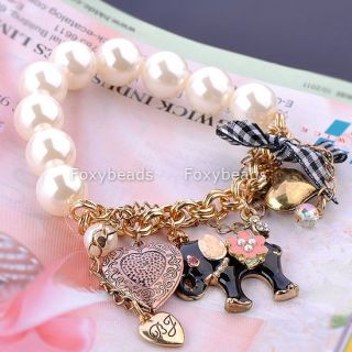 Elephant Faux Pearl Heart Bow Flower Dangle Charms Bracelet
