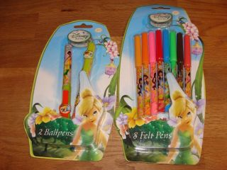 Fairies Tinkerbell 2 Ball Pens 8 Coloured Felt Pens New SEALED