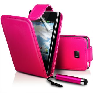Hotpink Flip Leather Case Cover II for LG E400 Optimus L3 Film Stylus
