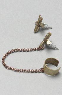 Luv AJ The Crystal Cross Ear Cuff in Brass