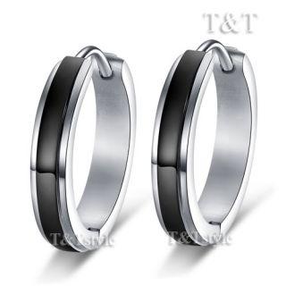 Steel Black Stripe Hoop Earrings Extra Large 20mm EK69