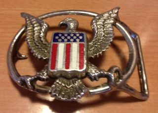 AMERICAN EAGLE FLAG CUTOUT METAL ENAMEL BELT BUCKLE USA STARS AND