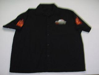 Performance Parts Motorcycle Biker Flame Bowling Work Shirt XL