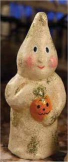 Ghost with Pumpkin Halloween Teena Flanner Figurine New FT0115