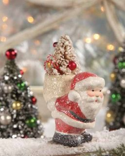 Santa Pack on his Back Paper Pulp Christmas Figurine Teena Flanner