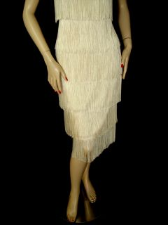 1795 St John Fringe Flapper Dress Sz 4 Sexy Elegant Santana Sequns