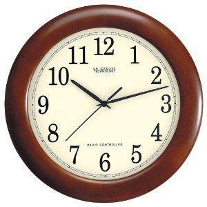 Wood Atomic Analog Wall Clock Crosse Technology Quartz Home Office