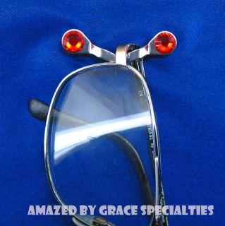 Readerest Eyeglass Holder w Red Swarovski Crystals Free Jewelry Wipe